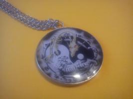 Yin Yang dragons Necklace, pendant, charm, ancient Chinese Tai-Chi energ... - $22.22