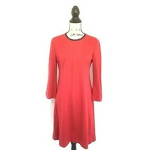 Anne Klein Dress 4 Red Black Leather Trim Shift 3/4 Sleeves Crewneck Womens - $28.04