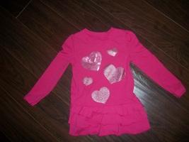 Girls Circo Hot Pink Long Sleeve Heart Tunic Long Shirt Size 4T - $3.05