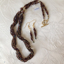 Necklace Spiral statement Blue beaded - $95.00