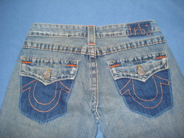 True Religion Size 27 Bell Bottom Hippie Flower Jeans Patches Excellent ... - $36.00