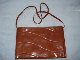 Vintage Furla Brown Leather Large Envelope Clutch Bag W/Shoulder Strap - $27.00