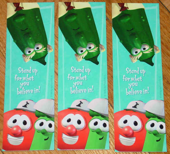 BOOKMARK VEGGIE TALES STAND UP FOR WHAT YOU BELIEVE IN BOOK MARKS  UNUSED