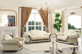 Versace Cleopatra Cream Italian Leather Living Room Sofa Loveseat Chair 2 pc Set