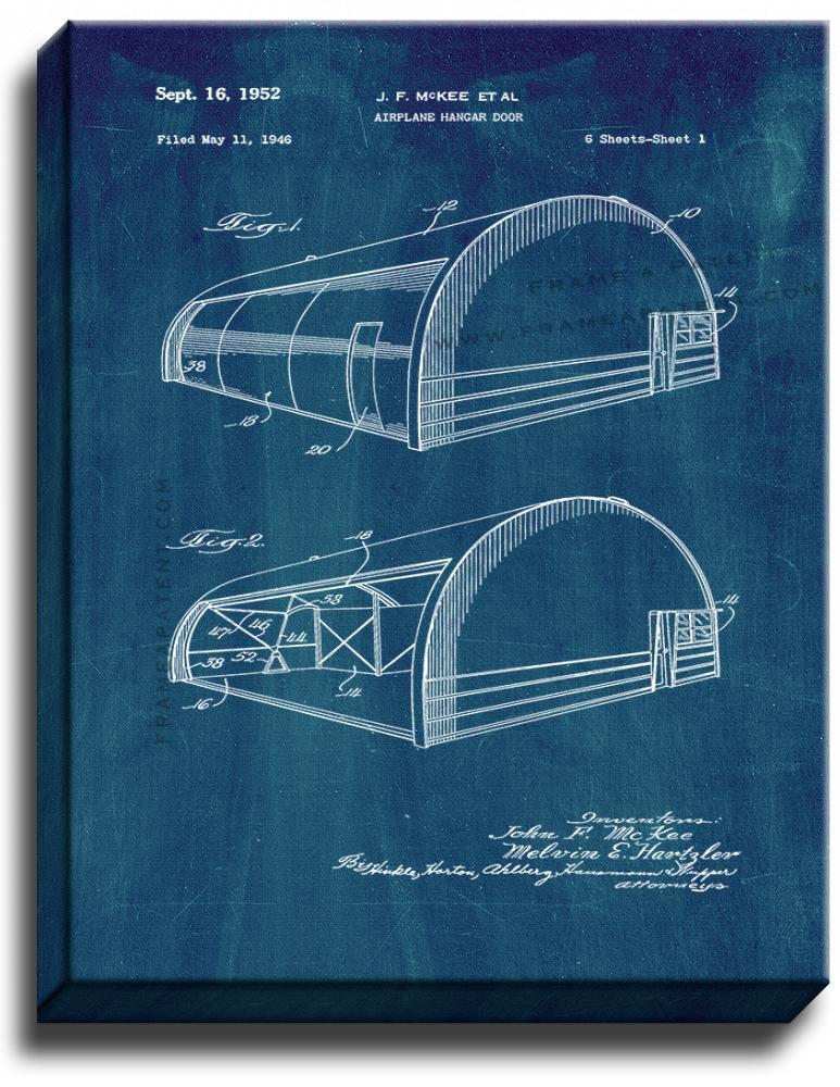 Primary image for Airplane Hangar Door Patent Print Midnight Blue on Canvas