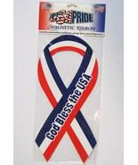 Magnetic Ribbon God Bless the USA Car Magnet NIP - $4.00