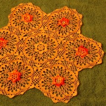 Sparkling Orange Flower Table Topper Crochet Ar... - $42.00
