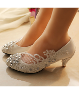 Wedding Shoes,Lace Bridal Shoes,Lace Bridal Shoes,Pearl Bridal Shoes,7cm... - $48.00