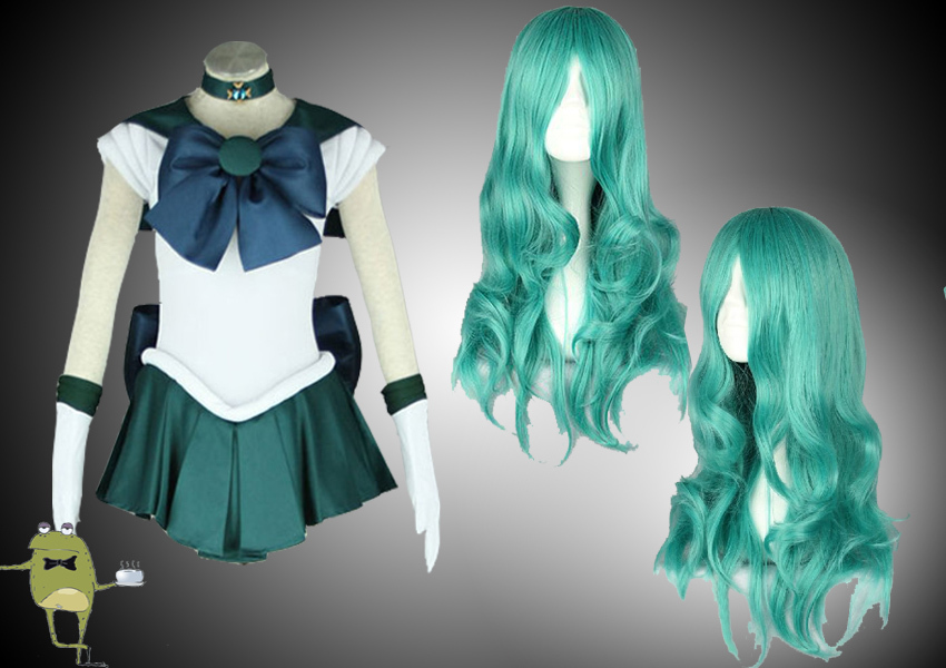 Michiru kaioh sailor neptune cosplay costume wig
