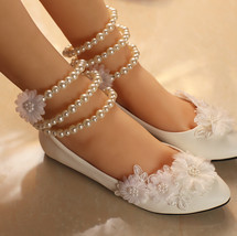 Lace Bridal Flats,Floral Lace Bridal Shoes,Bridesmaids Shoes,Child weddi... - £38.54 GBP