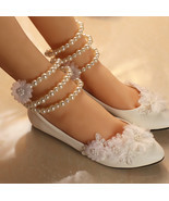 Lace Bridal Flats,Floral Lace Bridal Shoes,Bridesmaids Shoes,Child weddi... - $900,27 MXN