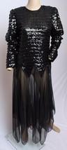 Vintage 21.3ms 24.4ms Denise Fashions Negro Transparente Lentejuelas Cóctel - $86.65