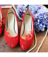 Red Bridesmaids Shoes, Red Pearls Bridal Shoes,Wedding heels,Bridals heels - $48.00