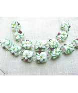 Square Lampwork Glass Beads, White with Pink Yellow,  7 beads 15mm - $6.78