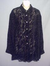APOSTROPHE shirt L black velvet burnout zebra animal long sleeve top blouse - $26.45