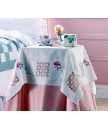 "ELEGANT ROSE TABLE CLOTH TOPPER 34"" Square  NEW - $12.38"
