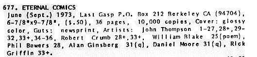 Eternal Comics, Last Gasp, 1973, John Thompson, Crumb, others, Undreground Comix