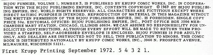Bijou #3 Kitchen sink 1972, 3rd print, underground comix, Lynch, Crumb, Green