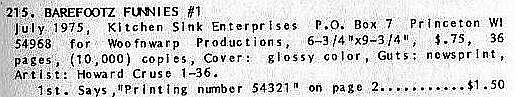 Barefootz #1 Kitchen Sink 1975  underground comix, Howard Cruse
