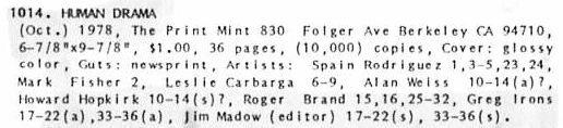Human Drama, Print Mint 1978, underground comix, Spain Rodriguez