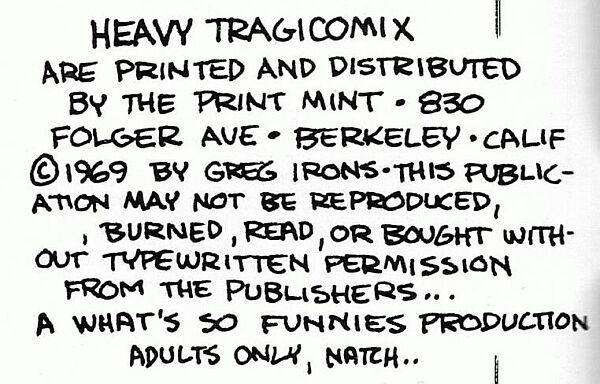 Heavy Tragicomics, Print Mint 1969, Greg Irons, underground comix