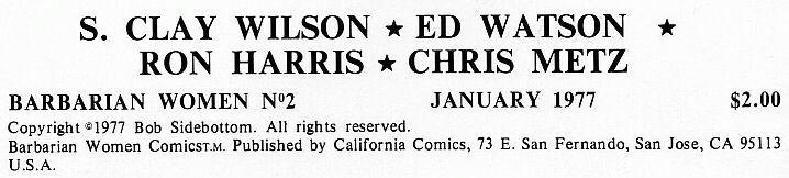 Barbarian Women #2 California Comics 1977  underground comix, S Clay Wilson