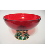 Teleflora Christmas Glass Bowl or Vase Ruby Red with Metal Holly Base - $40.09