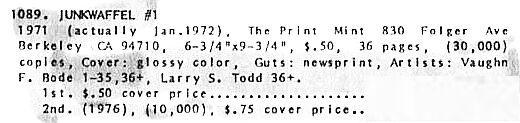 Junkwaffel 1,1st print, Print Mint 1971 Vaughn Bode underground comix,