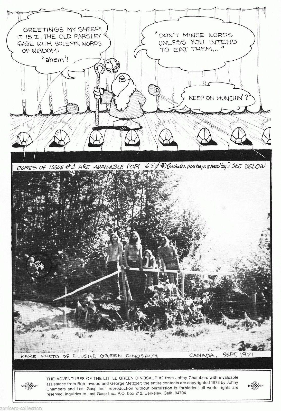 Little Green Dinosaur 1 & 2 - Last Gasp 1972-3, underground 2 comix set