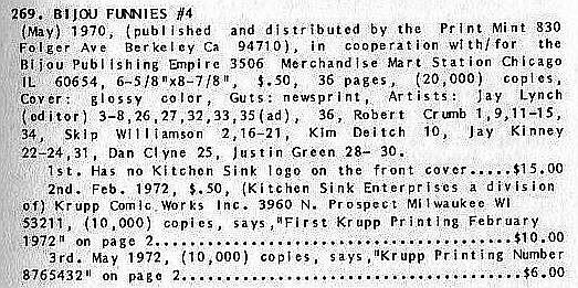 Bijou #4, Print Mint 1970, 1st print, underground comix, Jay Lynch, Robert Crumb