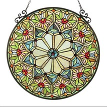 "SUNNY"" Tiffany-style Floral Glass Window Panel ... - $139.99"
