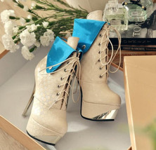 382s057 Mixed color Martin booties w plating heels, size 33-40, yellow - $107.00