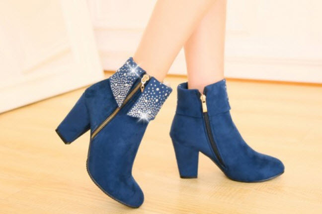 Primary image for 382s055 Rhinestones high heels booties,size 34-39, blue