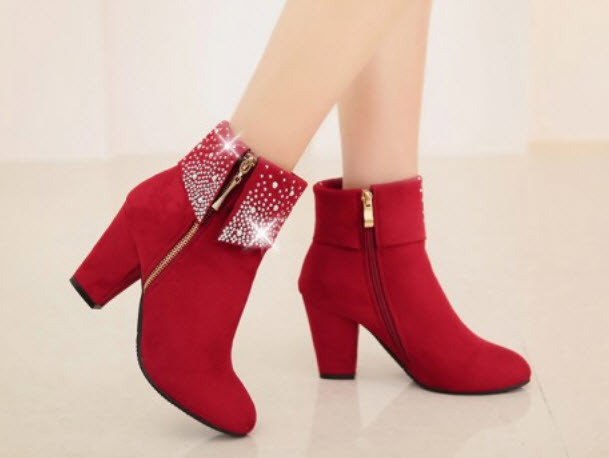 Primary image for 382s055 Rhinestones high heels booties,size 34-39, red