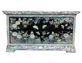 Lacquer inlaid mother of pearl crane & flower jewelry box drawer jewel c... - €132,94 EUR