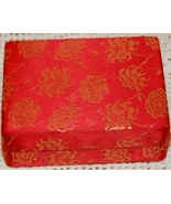 Red Brocade Hinged Box, Satin Lined - $4.00