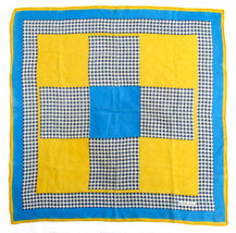 "Elaine Gold Turquoise & Gold Plaid Silk Chiffon Scarf Square   21"" - $16.00"