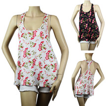 Flower Print Scoop Neck Cute Tank Top Racer Back Loose Fit Casual Trendy... - $14.99