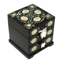 Lacquer ware inlaid new mother of pearl handcrafted jewelry,jewel box #0923 - $94.05