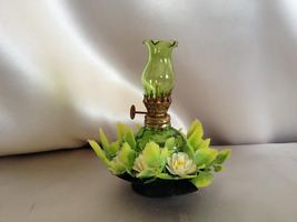 Tiny Green Oil Lantern with Green and White Flo... - $5.00