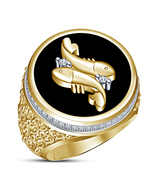 Mens Black Enamel Band Pisces Zodiac Sign Ring 14k Yellow Gold Plated 92... - $114.57