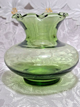 Collectible Vintage Depression ANCHOR HOCKING Glass Forest Green Ruffle Vase image 1