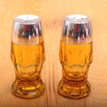 Vintage Honeycomb Amber Topaz Georgian Pressed Glass Salt & Pepper Shakers - $18.69