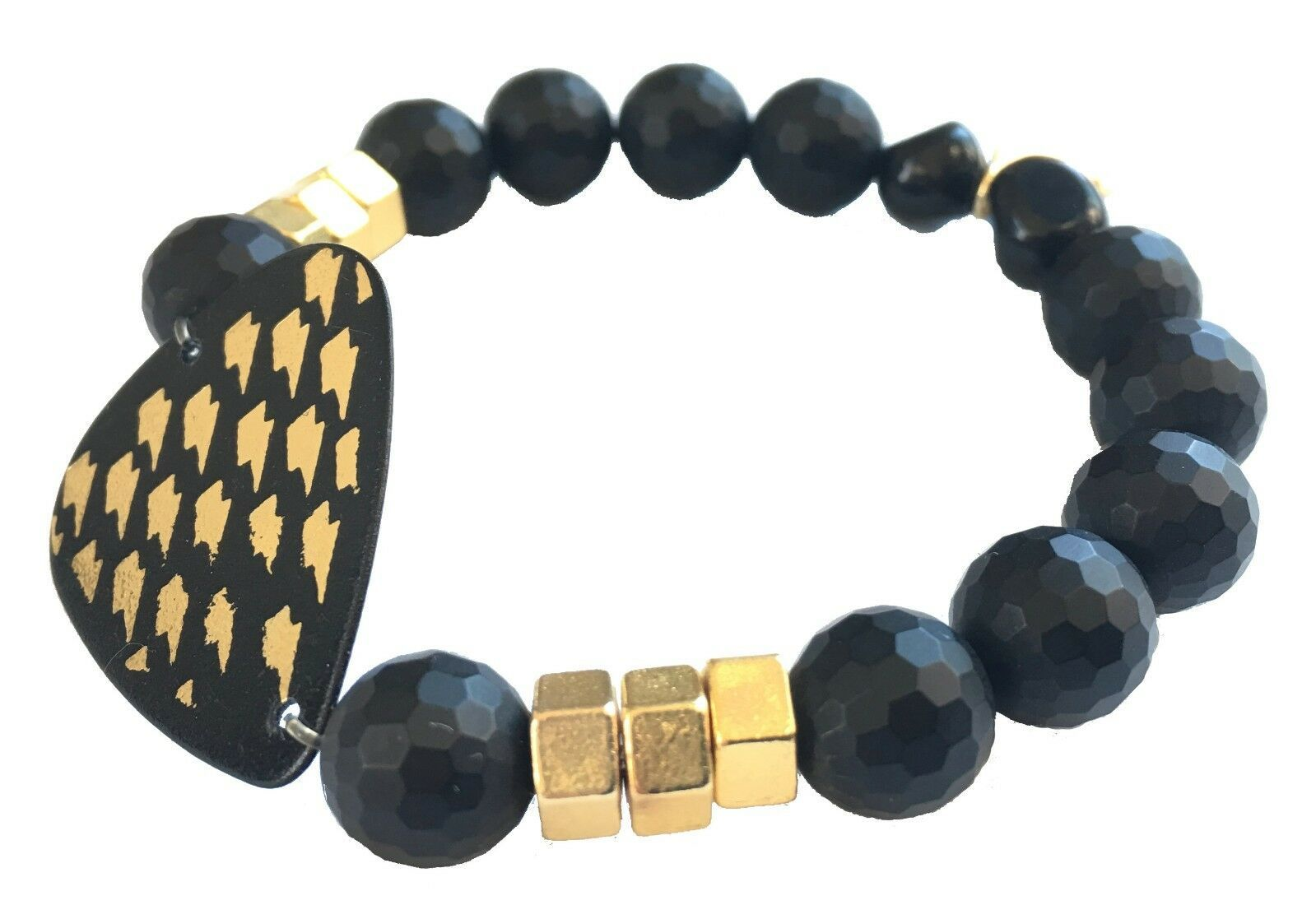 Electric Picks Gold Glimmer Thunder Bolt and Nuts Hardware Black Onyx Bracelet