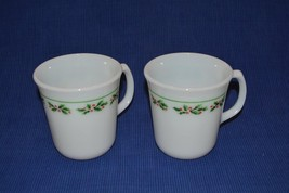 "4 Corning Pyrex Holly Days Christmas Mugs 3.5"" coffee hot chocolate milk glass - $11.59"