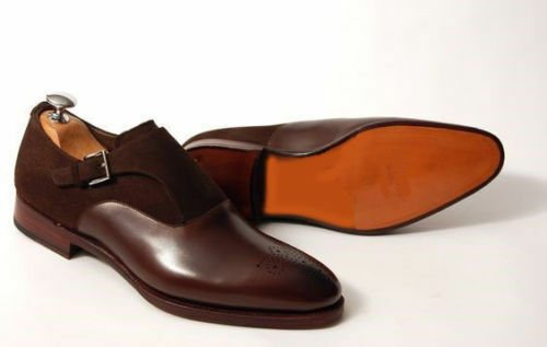 Handmade Men's Brown Suede Plain Leather Monk Shoes