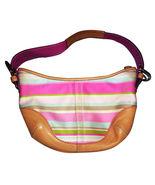 COACH Hampton Stripe Leather Hobo Bag, Small (L053-1884) - $59.95