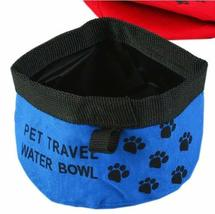 Pet Travel Water Bowl Dogs Cats Foldable & Portable Bowl BLUE (9.5 4 Inches)