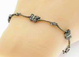 925 Sterling Silver - Vintage Marcasite Butterfly Link Chain Bracelet - ... - $27.86
