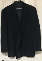 Towncraft Mens Sports Coat Navy Blue 44R Double Breasted Wool Polyester - $49.49